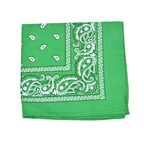 Paisley Bandanas Head Wrap, 100% Cotton Double Sided, 21 x 21 Inch (1 Pack, (Green Bandana)