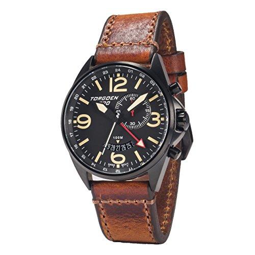 Torgoen T30 Black GMT and Alarm, Swiss Quartz, Pilot Watch | 45mm - Vintage Leather Strap