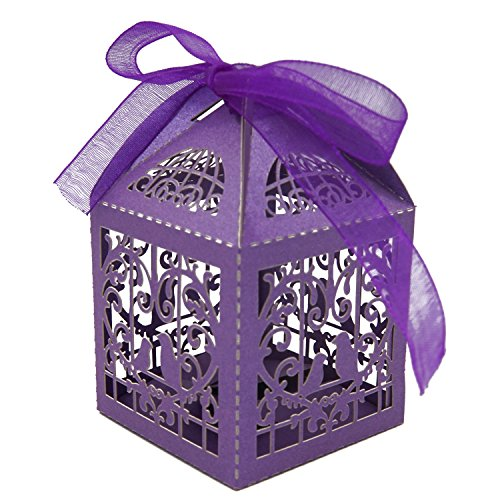 KEIVA 70 Pack White Love Birds Laser Cut Favor Candy Box Bomboniere Decorations Gift Boxes with Ribbons Bridal Shower Wedding Party Favors (Purple)