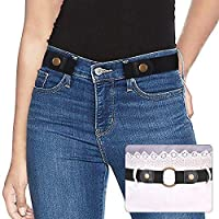 "No Buckle Ladies Elastic Belt for Women Mens Invisible Jeans Pants Dress Stretch Waist Belt up to 48"" Christmas Gift by SUOSDEY"
