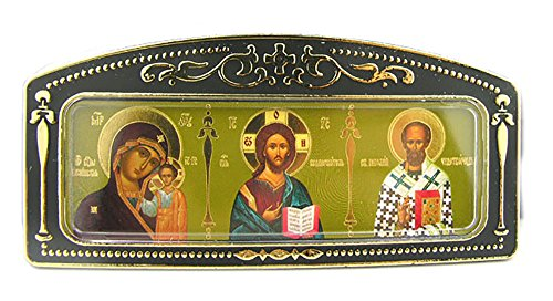 Kazan Icon (Russian Car Icon Virgin Of Kazan Saint Nicholas Christ The Teacher 4 Inch)