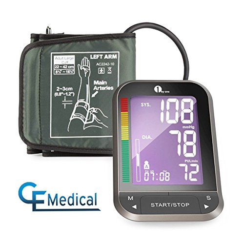 1byone Upper Arm Blood Pressure Monitor with Wide-Range Cuff, Large Backlit...