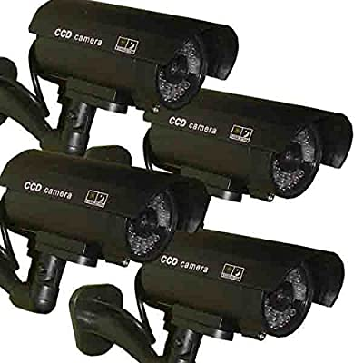 4 Pack - JYtrend (TM) Outdoor Dummy Fake Security Camera with Inflared Leds BLINKING LIGHT, Black