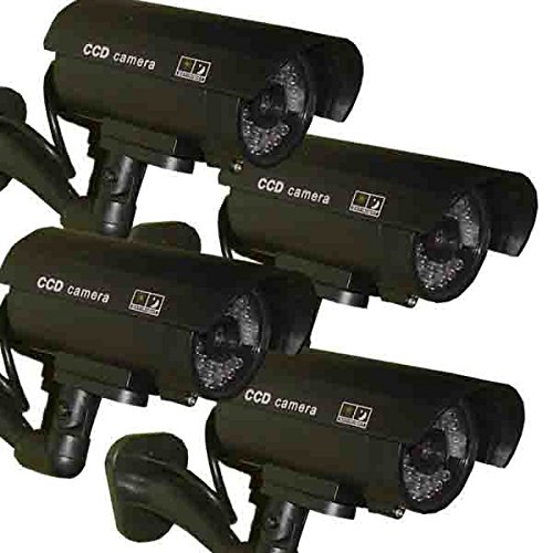4 Pack – JYtrend (TM) Outdoor Dummy Fake Security Camera with Inflared Leds BLINKING LIGHT, Black