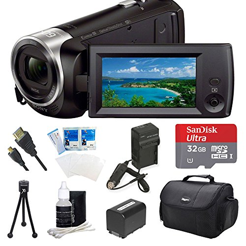 Sony HDR-CX440 HDR-CX440/B CX440 Full HD 60p Camcorder - Black Ultimate Bundle w/ 32GB MicroSDHC Memory Card, Spare High Capacity Battery, AC/DC Charger, Table top Tripod, Deluxe Case, and much more by Beach Camera