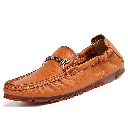 HhGold Mocasines y Chaquetas sin Cordones para el otoño de los Hombres de Cuero, Zapatillas