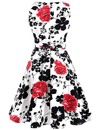 Dress Del Dall'oscillazione rose Partito Fiorito Giardino Vestito Aecibzo Picnic 1950 Partito Annata Cocktail Bianco vqZxcSg
