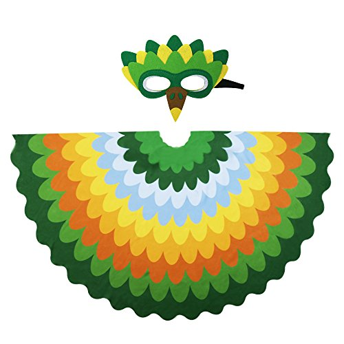 Kids Fairy Bird Wings Costumes Feathered for Boys Girls Boys Dress up Party Decoration with Bird Mask(#4 Green-Yellow)
