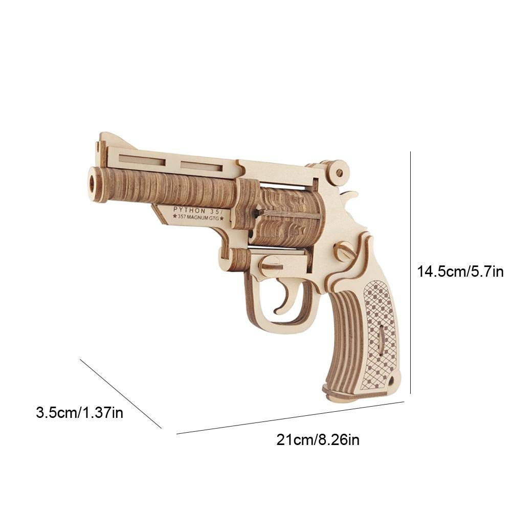 3D Wooden Puzzle Revolver Model Building Kits Kid Child DIY Woodcraft Assembly Kit for Kids Children Boyfriend Adults When Christmas Birthday DIY Puzzle Toy Set Zerodis