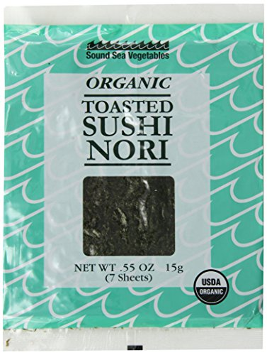 Sound Sea Vegetables Organic Toasted Sushi Nori, 7 Sheets, 0.55 - Seaweed Sushi Toasted