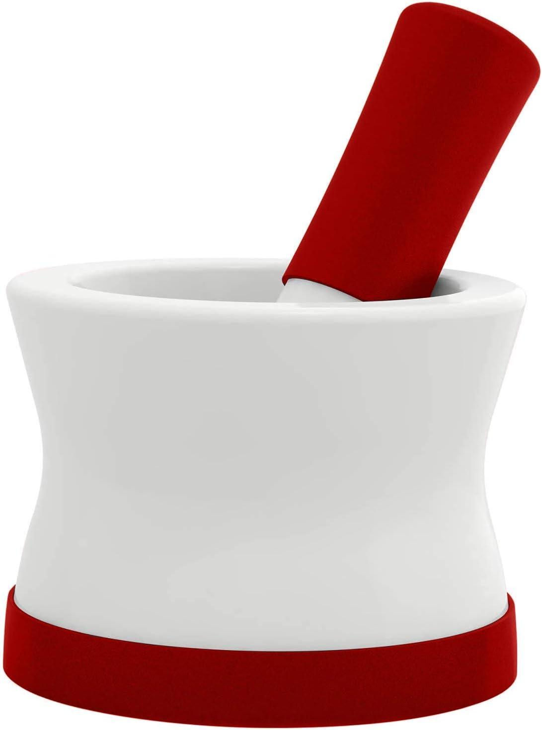Mortero y mortero de silicona y porcelana rojos EZ-Grip con base de silicona desmontable antideslizante - NUEVO DISEÑO - Apto para lavavajillas de Cooler Kitchen
