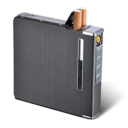 Yeleo Trosetry Encendedor de Estuches, 2 en 1 Aluminio Estuche con mechero S Encendedor de Cigarrillos Recargables con eléctrico nischem Mechero