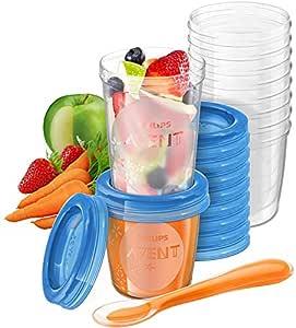 Philips Avent Förvaringsmuggar - Förvaring av barnmat (10 x 180 ml och 10 x 240 ml) - Med läckagefritt lock - Enkelt att förvara och transportera - Stapelbara - BPA-fria - SCF721 / 20