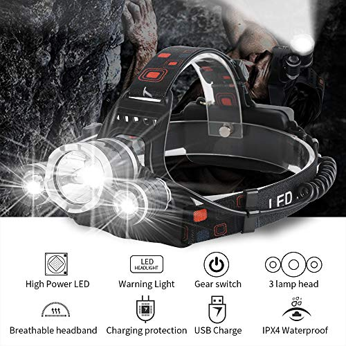 Headlamp Flashlight, USB Rechargeable LED HeadLamp for Adults Ultra Bright 3000 Lumen Hard Hat Work Light 4 Modes 90° Adjustable IPX4 Waterproof Head Lamp for Outdoor Camping Running Fishing