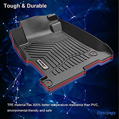 oEdRo Floor Mats Compatible for 2013-2020 Honda Accord Sedan, Black TPE All Weather Guard, 1st and 2nd Row Liners Set: Automotive