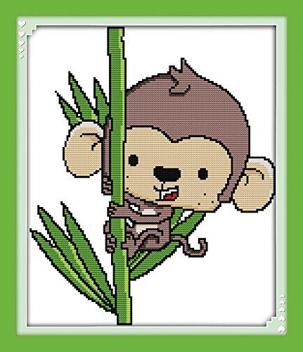 stamped cross stitch kit monkey
