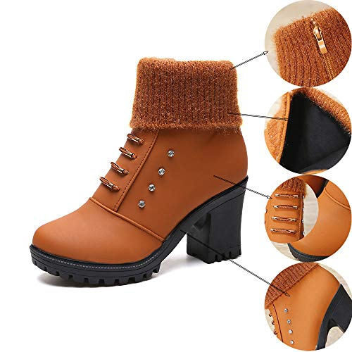 High Ankle Black Shoes Heel Crystal 40 Boots Martin Brown Brown Women Bootie Short Square 36 Shoes qw7IHpA5