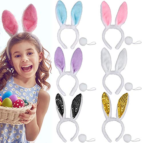 Bunny Ears, Fascigirl 6 PCS Rabbit Ears Headband Costume Set Hair Accessories for Women Adult Kids Easter Christmas Halloween Party Decorations -