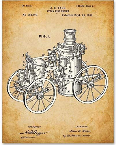 Steam Fire Engine - 11x14 Unframed Patent Print - Makes a Great Gift Under $15 for Firemen and Fire Fighters (Best Patent Search Engines)