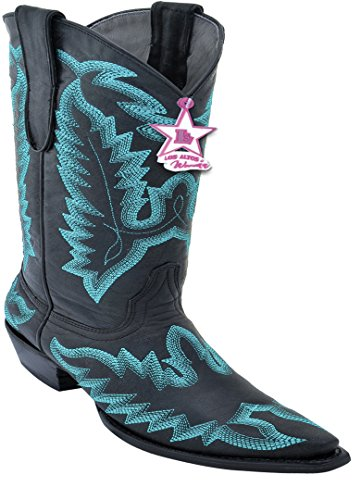 Boots Women's Desert Embroidery Black Toe Skin Genuine Western Snip Blue Leather With rWWqga