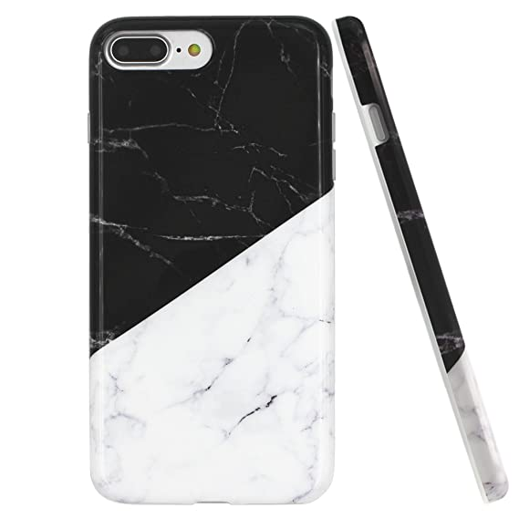 sale retailer 62e45 bd123 iPhone 7 Plus case, iPhone 8 Plus Marble case, BRILA Marble Design Soft  Glossy TPU Rubber Silicone Bumper case Cover for iPhone 7/8 5.5