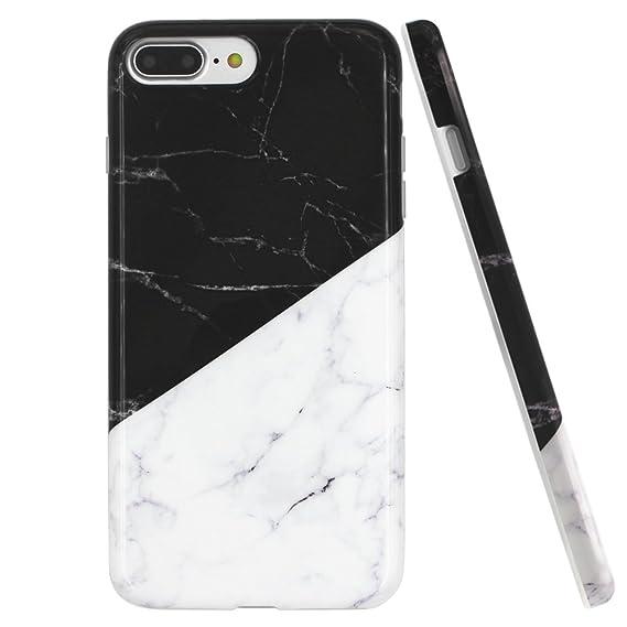 sale retailer ebdfa 148ce iPhone 7 Plus case, iPhone 8 Plus Marble case, BRILA Marble Design Soft  Glossy TPU Rubber Silicone Bumper case Cover for iPhone 7/8 5.5