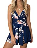Murimia Women's Summer V-Neck Floral Spaghetti Strap Short Rompers and Jumpsuits