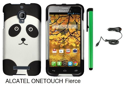 Alcatel One Touch Fierce 7024W (T-Mobile) Premium Pretty Design Protector Hard Cover Case + Car Charger + 1 of New Metal Stylus Touch Screen Pen (Black Silver Panda Bear)