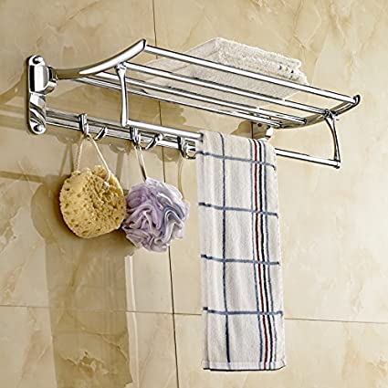 Rozin Chrome Finish Bathroom Towel Shelf Folding Bath Towel Holder With Hook
