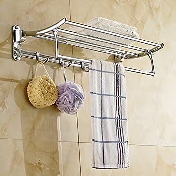 Rozin Chrome Finish Bathroom Towel Shelf Folding Bath Towel Holder With Hook