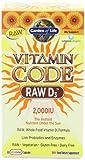 Garden of Life Vitamin Code Raw D3 2,000 IU, 60 Capsules (Pack of 3)