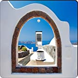Rikki Knight RK-LSPS-8976 Greek White Washed Window To Paradise Design Light Switch Plate Cover