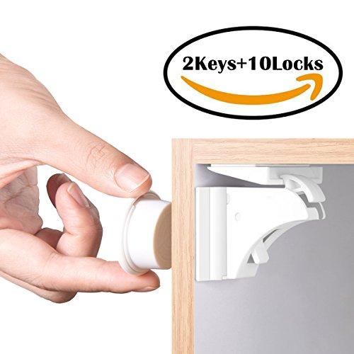Locking Cupboard (BETENSE Child Safety Magnetic Cabinet Lock No Tools Or Screws Needed Baby Safety Locks Kids Toddler Proofing Hidden Cupboard Drawer Locking System (10 Locks + 2 Keys))