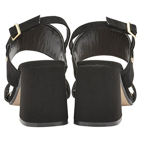 Dolcis Damen Naomi Schwarz Blockabsatz Knöchel Peep-Toe Sandalen Riemchenschuhe Größen 3-8