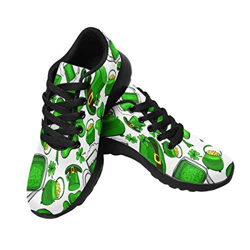 INTERESTPRINT Women's Walking Sports Road Shoes St Patricks Day Clovers 10 B(M) US