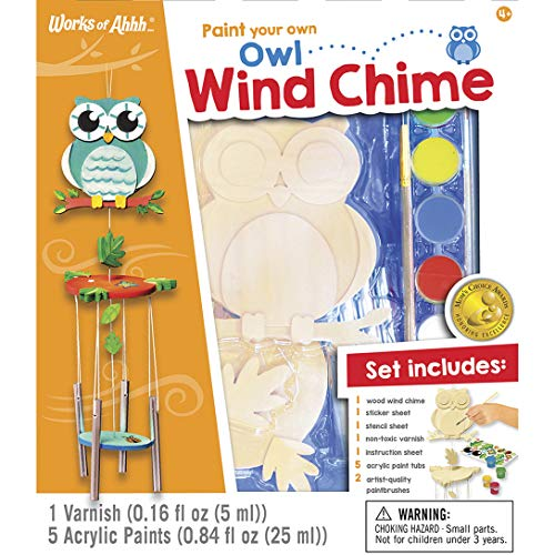MasterPieces Works of Ahhh Real Wood Large Acrylic Paint & Craft Kit, Wind Chime with Owl, Moms Choice Award, for Ages 4+
