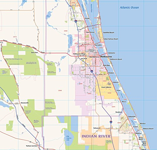 Central Florida Laminated Wall map (60''Wx48''L) by Topographics (Image #4)
