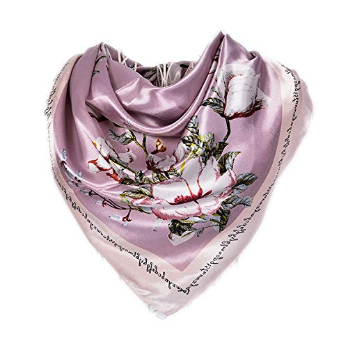Spring And Autumn Female Satin Scarf,Big Square Scarves Printed,Women Scarf,Purple Polyester Silk Scarf Shawl 9090cm,Purple Pink 583 from cengXY160h
