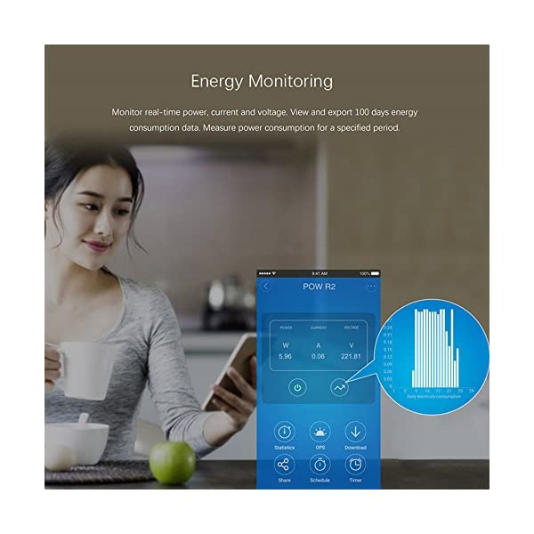 yunlink Sonoff Pow R2 15A luce di telecomando Wi-Fi Smart Power Monitor Protezione sovraccarico Schedul Recensisci per… 3 spesavip