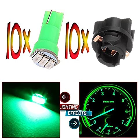 CCIYU 10x 74 Twist-in Instrument Panel Dash Light Green LED Bulbs PC74 Sockets T5 Kit 307 308 406 407 2721 85 86 For 2005-2011 Nissan Altima Armada Frontier Maxima Murano Sentra Titan (2002 Civic Dash Kit)