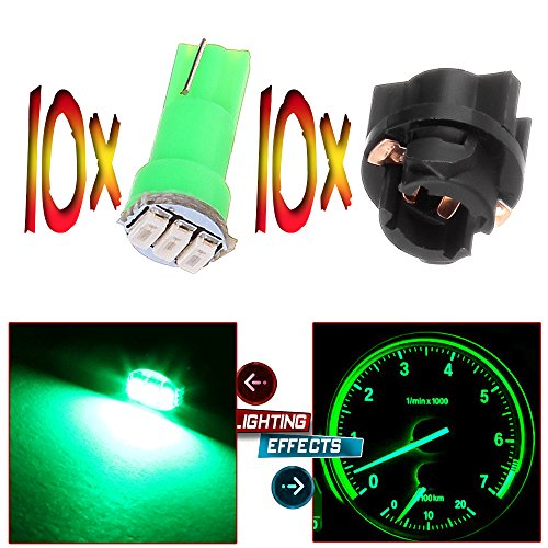 CCIYU 10x 74 Twist-in Instrument Panel Dash Light Green LED Bulbs PC74 Sockets T5 Kit 307 308 406 407 2721 85 86 For 2005-2011 Nissan Altima Armada Frontier Maxima Murano Sentra Titan etc