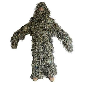 enkrio bosque Ghillie trajes 5-pc. Juego de diseño de camuflaje ropa de camuflaje trajes kit selva bosque caza para hombres: Amazon.es: Deportes y aire ...