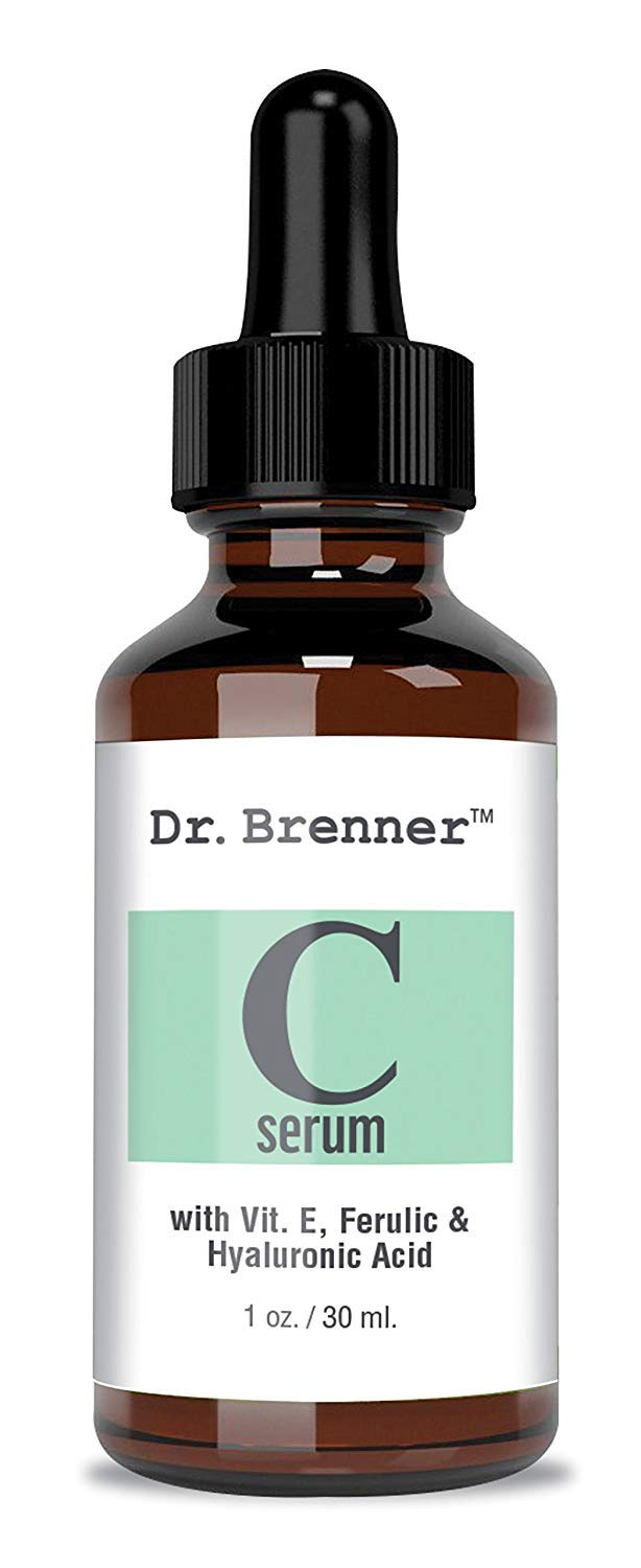 Anti-Aging Vitamin C Serum for Face and Eyes with Ferulic Acid, Vitamin E and Hyaluronic Acid 1oz. Dr. Brenner Labs