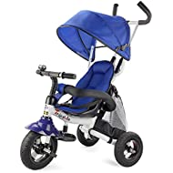 Costzon Baby Tricycle, 6-in-1 Ride On Steer Stroller, Learning Bike w/Detachable Guardrail, Adjustable Canopy, Safety Harness, Folding Pedal, Storage Bag, Brake, Shock Absorption Design