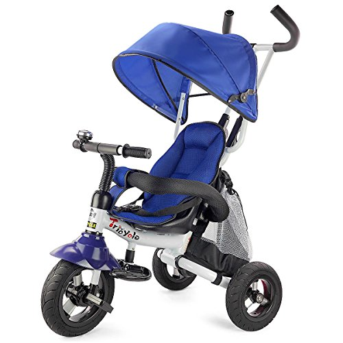 Costzon Baby Tricycle, 6-in-1 Steer Stroller, Learning Bike w Detachable Guardrail, Adjustable Canopy, Safety Harness, Folding Pedal, Storage Bag, Brake, Shock Absorption Design, Blue