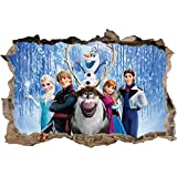 Frozen Smashed Wall Decal Removable Wall Sticker Disney Elsa Olaf Anna H167, Large
