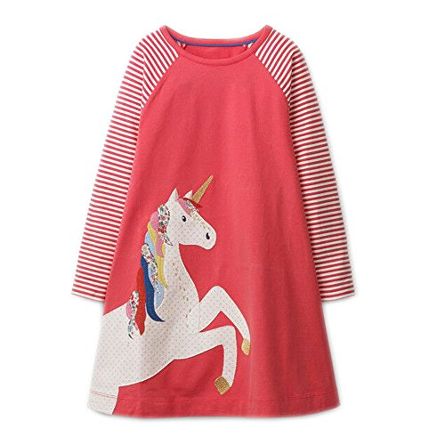 Youlebao Girls Cotton Long Sleeve Casual Cartoon Appliques Striped Jersey Dresses (6T, Red Unicorn)