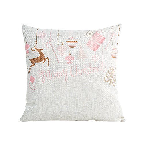Romantic Pillow Cases,Hongxin Merry Christmas Pillow Cases Linen Sofa Cushion Cover Home Decor Pink Pillow Core (A)