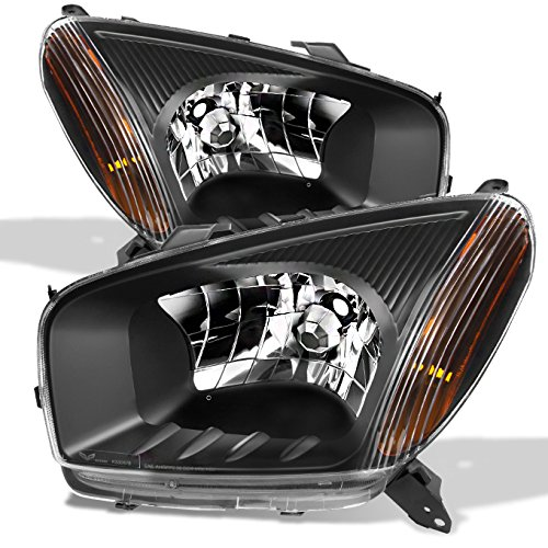 Toyota RAV4 Black Headlights Head Lamps Driver Left + Passenger Right Side Replacement Pair Set (Headlight Rav4 Driver Toyota)