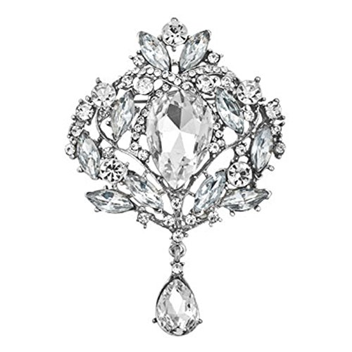 JewelryHouse White Gorgeous Austrian Imitation Crystal Rhinestone Wedding Brooch Pin (White 1) ()